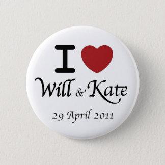 Badge Rond 5 Cm Bouton l'épousant royal de William et de Kate