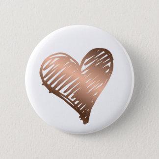 Badge Rond 5 Cm Bouton métallique de coeur d'or