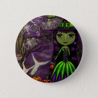 Badge Rond 5 Cm Bouton mystérieux de Halloween de nuit