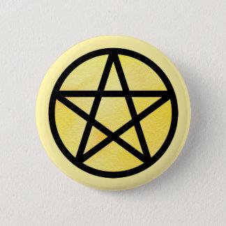 Badge Rond 5 Cm Bouton noir jaune de pentagramme d'aquarelle
