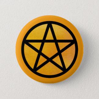Badge Rond 5 Cm Bouton noir orange de pentagramme d'aquarelle