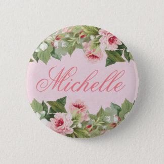 Badge Rond 5 Cm Bouton nommé floral élégant dans le rose avec la
