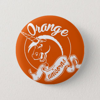 Badge Rond 5 Cm Bouton orange d'équipe de licornes
