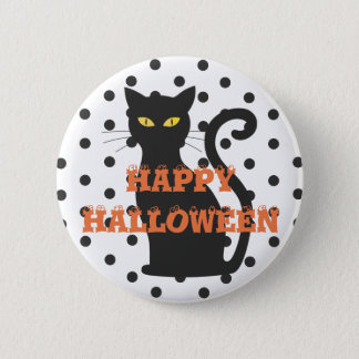 Badge Rond 5 Cm Bouton orange heureux de point de polka de chat