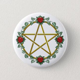 Badge Rond 5 Cm Bouton païen rose de pentagramme de pentagone
