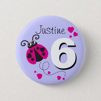 Badge Rond 5 Cm Bouton pourpre rose nommé de 6ème anniversaire de