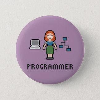 Badge Rond 5 Cm Bouton rond de programmeur femelle de pixel