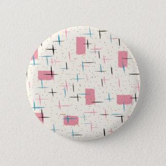 Badge Rond 5 Cm Bouton rond de rétro motif rose atomique