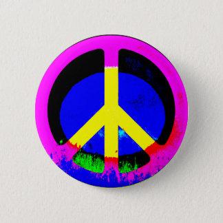 Badge Rond 5 Cm Bouton rond psychédélique coloré de signe de paix
