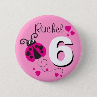 Badge Rond 5 Cm Bouton rose nommé de 6ème anniversaire de filles