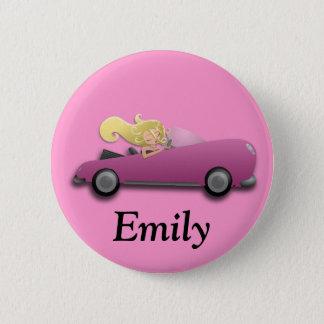 Badge Rond 5 Cm Bouton rose personnalisé de voiture et de fille