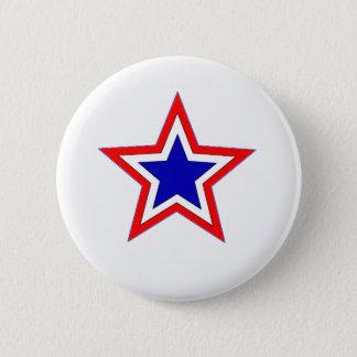 Badge Rond 5 Cm bouton rouge d'étoile blanche et bleue