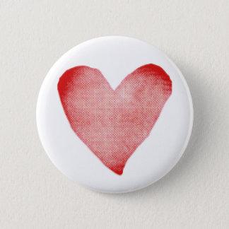 Badge Rond 5 Cm Bouton rouge et blanc de coeur