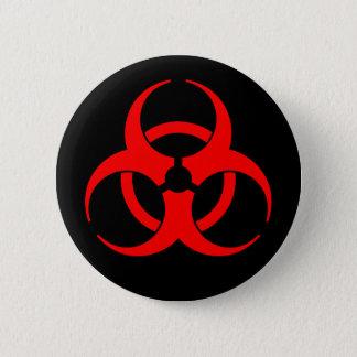 Badge Rond 5 Cm Bouton rouge et noir de symbole de Biohazard