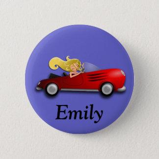 Badge Rond 5 Cm Bouton rouge personnalisé de voiture et de fille
