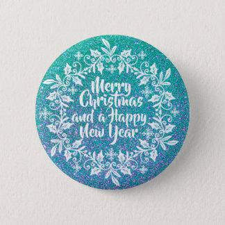Badge Rond 5 Cm Bouton scintillant de Pin du Joyeux Noël |