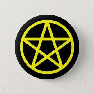 Badge Rond 5 Cm Bouton solide noir jaune de pentagramme