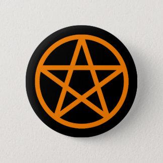 Badge Rond 5 Cm Bouton solide noir orange de pentagramme