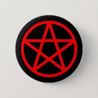 Badge Rond 5 Cm Bouton solide noir rouge de pentagramme