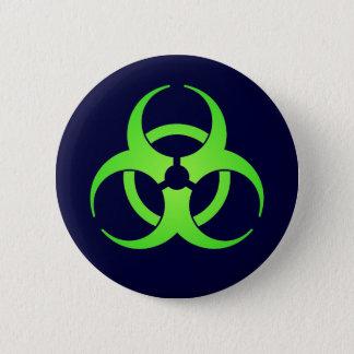 Badge Rond 5 Cm Bouton vert de symbole de Biohazard