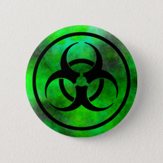 Badge Rond 5 Cm Bouton vert de symbole de Biohazard de brouillard