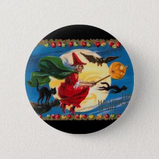 Badge Rond 5 Cm Bouton vintage de sorcière d'esprit de Halloween