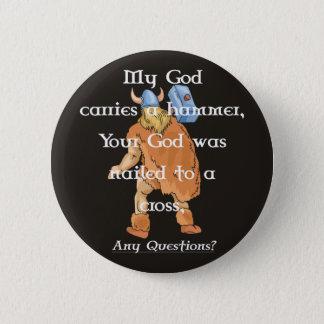 Badge Rond 5 Cm boutonnez mon Dieu sur le noir