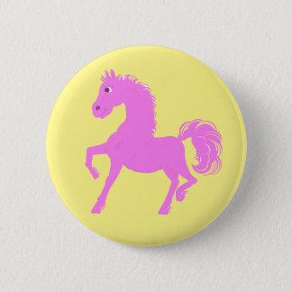 Badge Rond 5 Cm Boutons roses de poney, arrière - plan jaune
