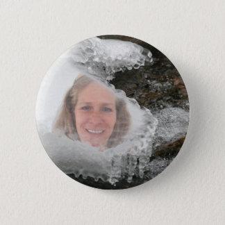 Badge Rond 5 Cm Cadre de photo de glaçons de rivière