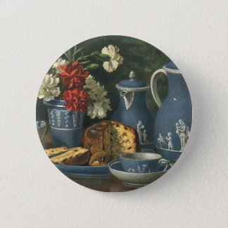 Badge Rond 5 Cm Café vintage, gâteau, thé et fleurs d'après-midi