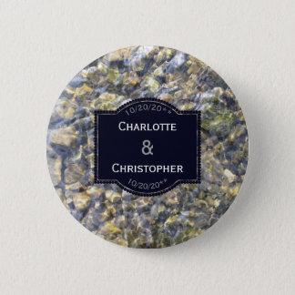 Badge Rond 5 Cm Cailloux de rivière et mariage personnalisé pareau
