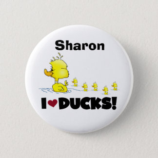 Badge Rond 5 Cm Canards jaunes d'amour d'enfants d'animaux de