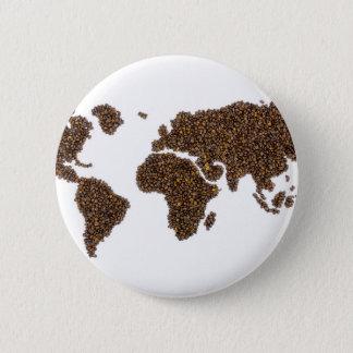 Badge Rond 5 Cm Carte du monde remplie de grains de café