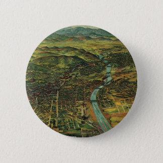 Badge Rond 5 Cm Carte vintage de Los Angeles, de Californie et de