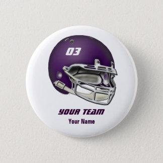 Badge Rond 5 Cm Casque de football de pourpre d'aubergine
