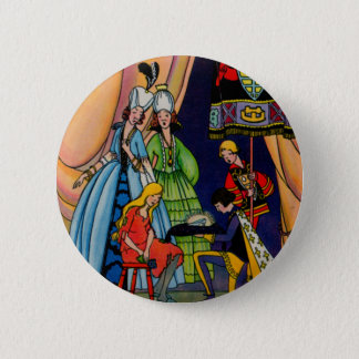 Badge Rond 5 Cm Cendrillon, le prince et la pantoufle en verre