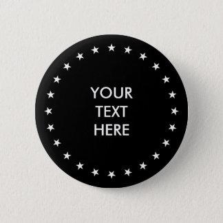 Badge Rond 5 Cm Cercle/anneaux - étoiles blanches + votre backg.