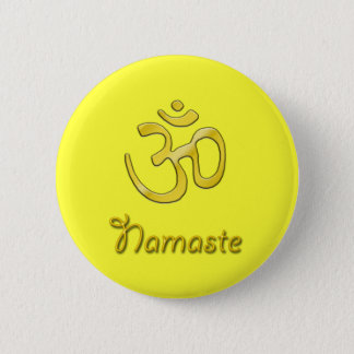 Badge Rond 5 Cm Chakra jaune de plexus solaire de bouton de