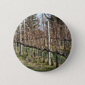 Badge Rond 5 Cm Champ nu de vignoble en hiver. La Toscane, Italie