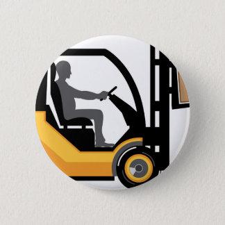 Badge Rond 5 Cm Chariot élévateur jaune