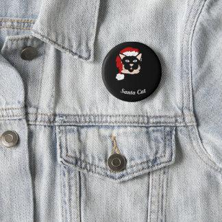 Badge Rond 5 Cm Chat de Père Noël