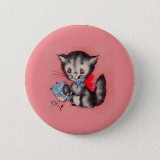 Badge Rond 5 Cm chat doux de minou