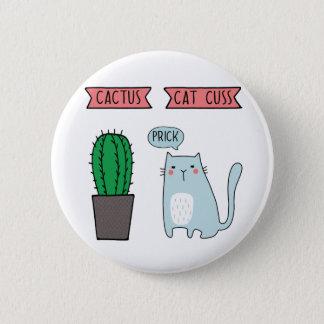Badge Rond 5 Cm Chat et cactus drôles