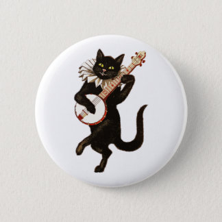Badge Rond 5 Cm Chat jouant le banjo