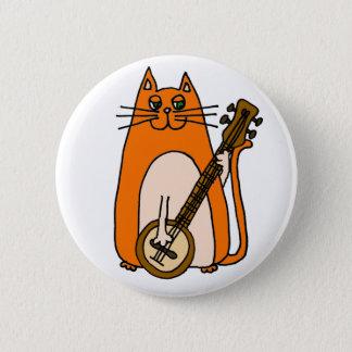 Badge Rond 5 Cm Chat orange mignon jouant la bande dessinée de