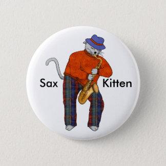 Badge Rond 5 Cm Chaton de saxo