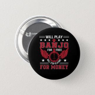 Badge Rond 5 Cm Chemise d'argent de jeu d'arrêt de Frree de banjo