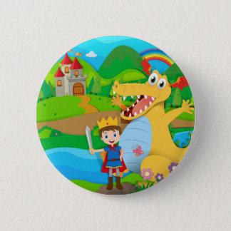 Badge Rond 5 Cm Chevalier et dragon sur la terre féerique