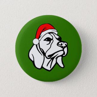 Badge Rond 5 Cm Chien de beagle avec le casquette de Père Noël de