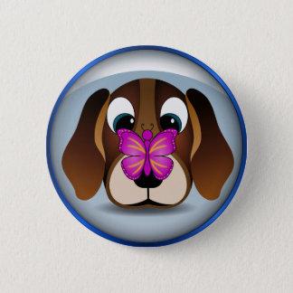 Badge Rond 5 Cm Chiot mignon et papillon de beagle de bande
